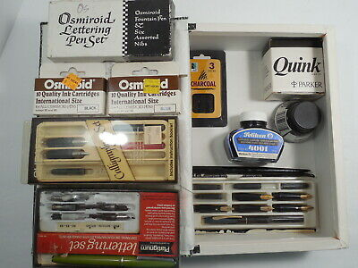 Lot of Lettering & Calligraphy Sets, Pens, Nibs, Ink, Etc