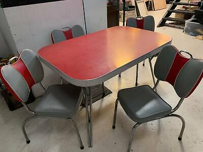 Vintage Australian 1950s Red LAMINEX CHROME DINING KITCHEN TABLE CHAIRS mcm rare