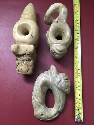 Lot Of Three Heavy Big Precolumbian Maya Alabaster Warrior Maze Museum Quality