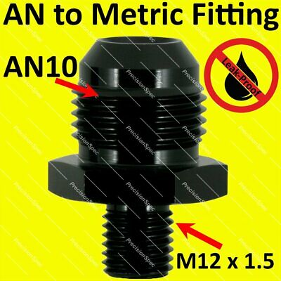 AN10 10AN Aluminium Straight Male Flare to M12x1.5 Metric Fitting Adapter Black