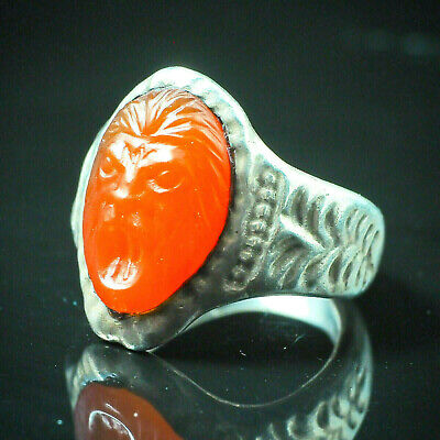 Antique Old Carnelian Cameo Greece LION King Knight Face Sterling Silver Ring