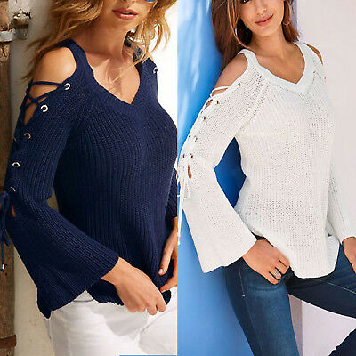 Women Long Sleeve Cold Shoulder Tops V Neck Sweater Casual Blouse Sweatshirt