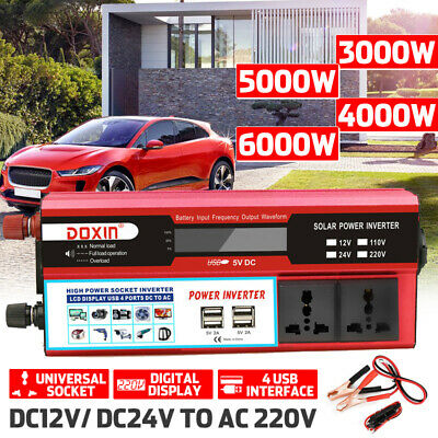 6000W Peak Digital Power Inverter DC 12V/24V to AC 220V USB Sine Wave Converter