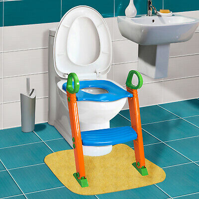 Seat with Step Stool Ladder for Child Toddler Toilet Chair Kids Potty Training