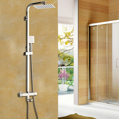 Bathroom 8 Inch Rainfall Chrome Thermostatic Wall Mount Shower Faucet Mixer Taps