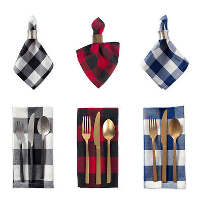 Blue Red Gingham Cloth Dinner Napkins Set Cotton Table Oversized Checked Checks