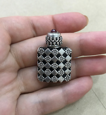 Antique Perfume bottle (Made in France) sterling silver case