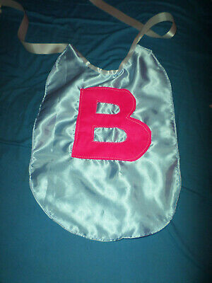 Adult Baby Sissy Bib Blue Satin Any  Initial   White Satin Ties Plastic Backed