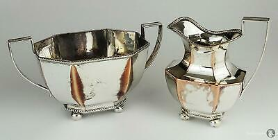 Antique SILVER PLATE On Copper SUGAR BOWL & CREAM JUG Ball Feet Gadroon Borders