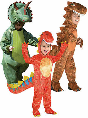 Childs Deluxe Dinosaur Costume Boy T-Rex Triceratops Fancy Dress Up Kids Outfit
