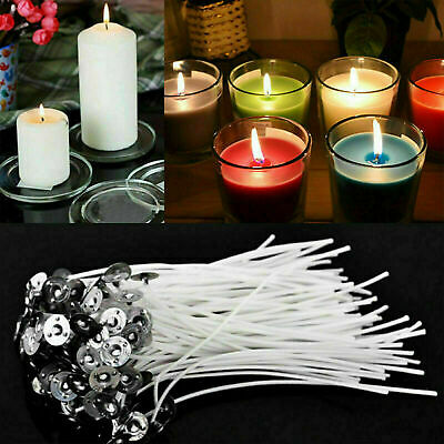 15cm Long 100Pcs Pre Waxed Candle Wicks for Candle Making with Sustainers UK