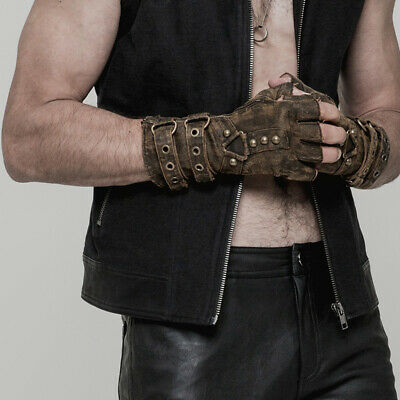 Punk Rave Mens Gothic Rock Biker Military Steampunk Fingerless Brown Gloves
