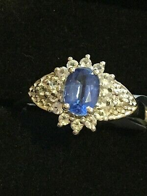 Sterling Silver Blue /& White Diamond Ring QR6512 Size 6-8