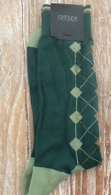 Matsuda Socks , Vintage mens New Old Stock With Tags , OS, green Argyle