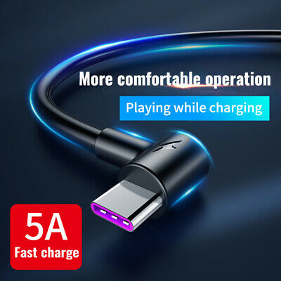 5A USB Type C Fast Charging Cable 90 Degree USB C Cable for Samsung S10 Huawei