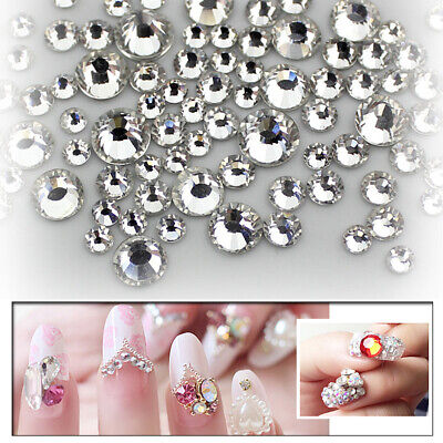 1440pcs Nail Art Rhinestones Glitter Diamonds Crystal Gems 3D Tips Decorations