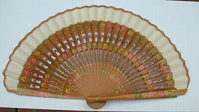 Vintage Hand Fan Folding Hand Painted Wood Fabric Flowers with Stand