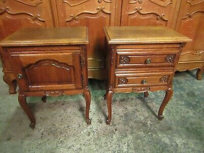 Pair of vintage French carved dark oak Louis XV bedside cabinets tables.