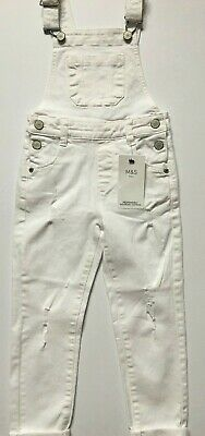 M&S Girls White Stretch Denim Dungarees Ages 3 4 5 6 7 8 9 10 11 12  RRP £18-£22