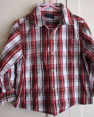 Faded Glory Boy's Size 3T Red Brown Plaid Cotton Long Sleeve Button Up Shirt