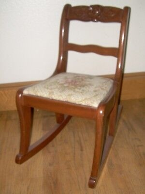 Vintage Child's Victorian Rocker Rocking Chair, Carved Back, Pad Tapestry Seat