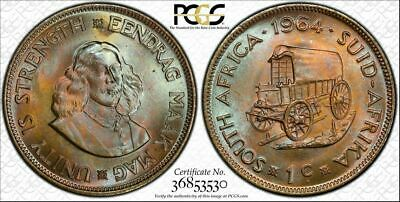 1964 SOUTH AFRICA ONE CENT PCGS MS64 Monster Toned TOP POP NINE GRADED HIGHER