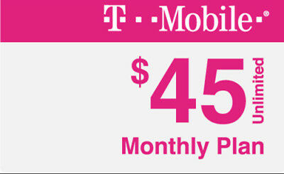 $1.00-1st Mo ($45 Plan) T-MOBILE PREPAID AIRTIME ONLY-4GB 4G LTE DATA [#08]