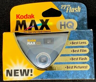 KODAK MAX HQ with FLASH one time use CAMERA 27 exposure w/ 800 Max film Exp 2000