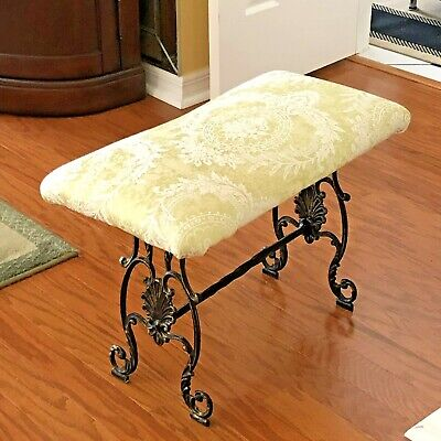 Vtg  Victorian Cast Iron Bench PIANO / VANITY / Bench Newly Padded & Upholstered