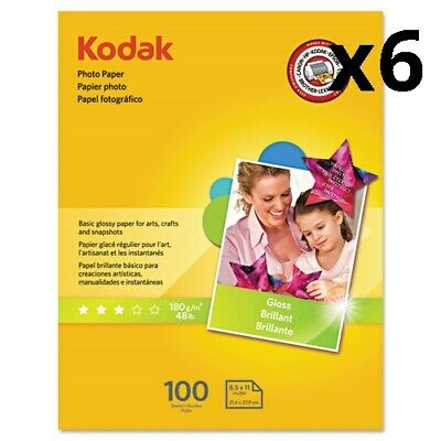 (6) Photo Paper, 6.5 mil, Glossy, 8-1/2 x 11, 100 Sheets/Pack