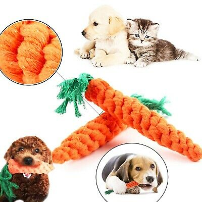 Pet Dog Chew Toy Carrot Durable Cotton Rope Teeth Cleaning  Puppy Bite Toy 2 Pcs