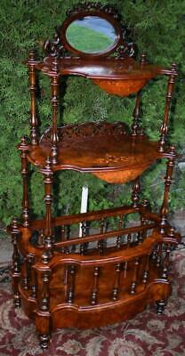 19th century English Victorian carved Burr Walnut inlaid Canterbury stand