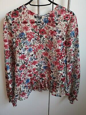 Primark Floral Long Sleeve Going Out Blouse Top Size 6