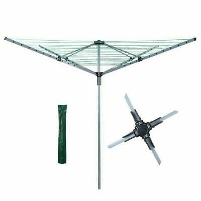4 Arm Heavy Duty Rotary Airer Washing Line w/ Free Metal Spike & Cover