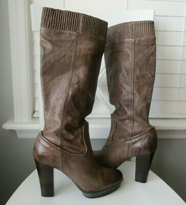 FRYE MIMI SCRUNCH Taupe Antique Leather 76735 Shoes Knee High Heel Boots Size 9M