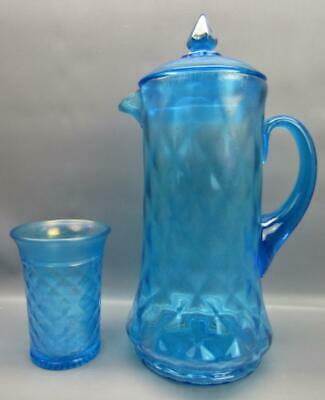 Northwood CONCAVE DIAMONDS Celeste Carnival Stretch Glass Pitcher & Tumbler 6898