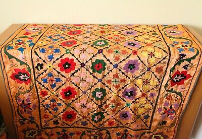 """Vintage Rectangular Tablecloth Heavily Embroidered Floral Bohemian 50"""" x 72"""""""