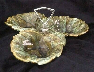 Vintage California Pottery - 3 leaf candy /  nut serving dish 724 USA