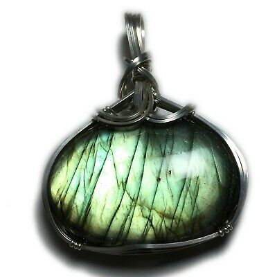 Labradorite Necklace Pendant 925 Silver - Jewelry with Leather Necklace S10 ZB