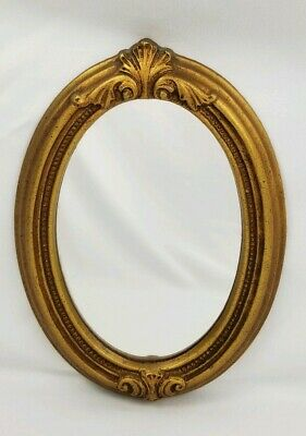 Vintage Syroco Oval Ornate Framed Wall Mirror Art Nouveau 6 3/8 x 8 5/8""