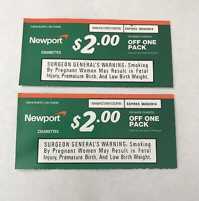 2 NEWPORT CIGARETTE coupons - 2x $2 00 off one pack Expires 9/30/19
