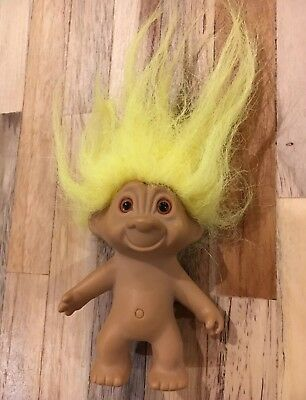 Vintage Yellow Haired 8cm Dam Troll Doll 'Made in China'