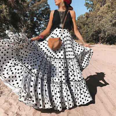 Ladies Ball Prom Cocktail Party Dress Long Round Neck Maxi Polka Dots Swing Gown