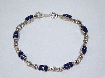 Egyptian Stamped 925 Solid Silver Precious Gems Scarab Bracelet