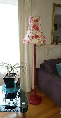 Restored Vintage Floor Lamp with handcrafted Cream & red floral print shade