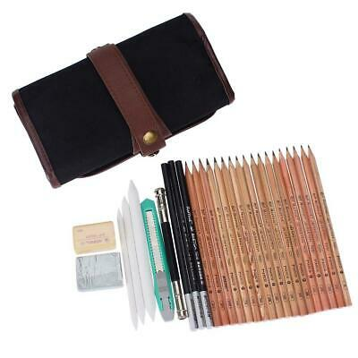 18x Sketch Pencils + Charcoal Pencil Eraser Set Art Craft for Drawing Sketch Kit