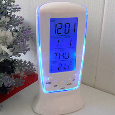 LED Digital Alarm Clock with Blue Backlight Electronic Calendar Thermometer Apt