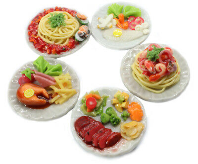 Mixed 5 Assorted Spaghetti And Steak Dollhouse Miniature Food,Tiny Food