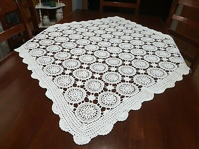 Vintage Handmade White Square Crochet Tablecloth with Raised Buds