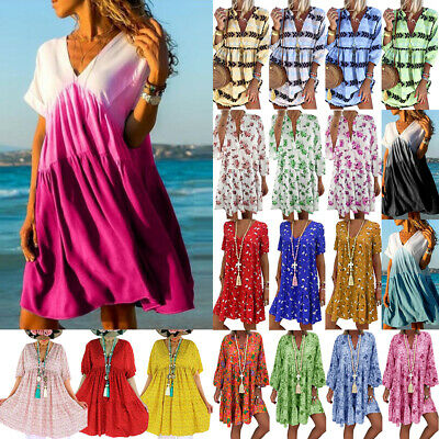 Plus Size Womens Floral Baggy Tunic Dress Ladies Summer Frill Smock Loose Kaftan